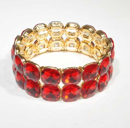 Siam Light/Gold Two Rows Square Stone Stretch Bracelet