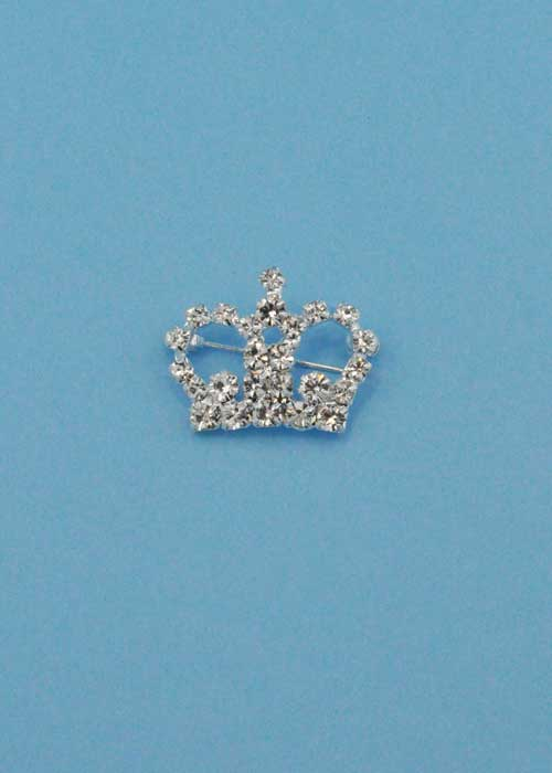 Clear/Silver Small Crown Shape Pin