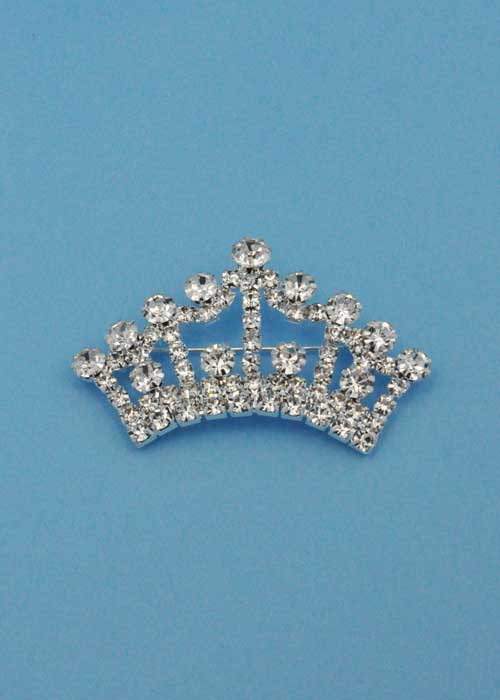 Clear/Silver Medium Crown Stone Pin