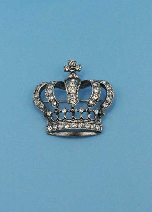 Clear/Silver Crown Shape Pin