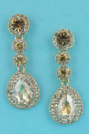 """Light Colorado/Clear Gold 3 Round Stone Linked Pear Stone 1.5"""" Earring"""