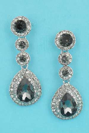 """Black Diamond/Clear Silver 3 Round Stone Linked Pear Stone 1.5"""" Earring"""