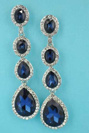 """Montana Navy/Clear Silver 4 Stones Linked 2.5"""" Earring"""