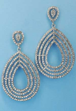 """Clear/Silver Pear Shape Small Round Stone 3"""" Post Earring"""