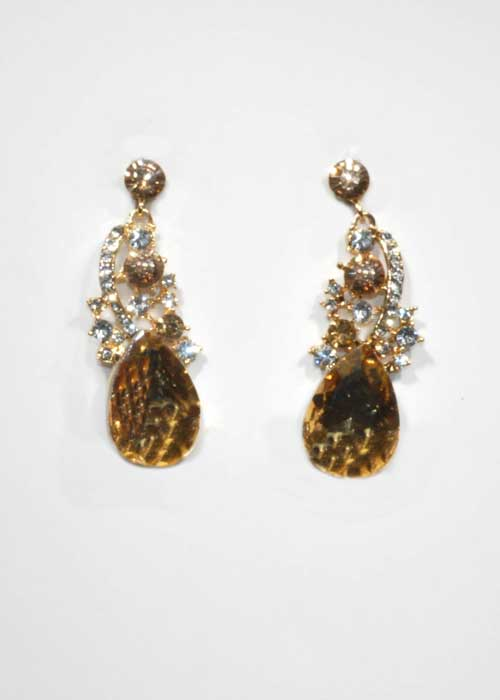 """Light/Clear Gold Top Branch 2"""" Post Earring"""
