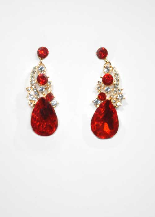 """Siam Light/Clear Gold Top Branch 2"""" Post Earring"""