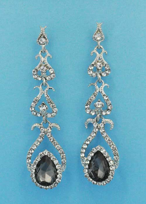 "Black Diamond/Clear Silver Framed Shape 3"" Post Earring"