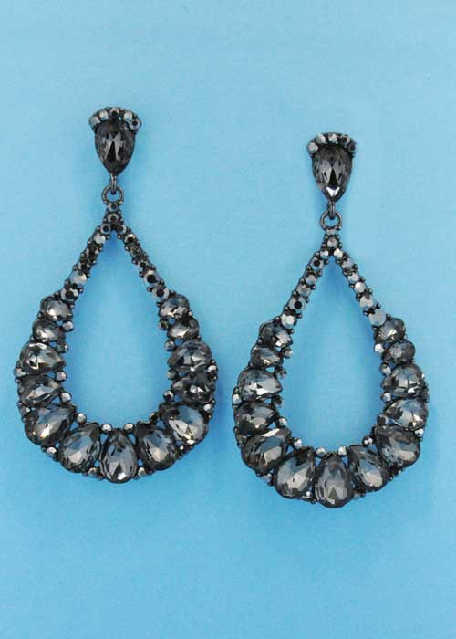 "Black Diamond/Hematite Teardrop Hoop 2"" Post Earring"