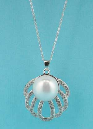 Cubic Zirconia/Pearl Shell Shape Necklace
