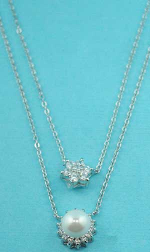 Cubic Zirconia/Pearl Flower/Pearl Shape Necklace