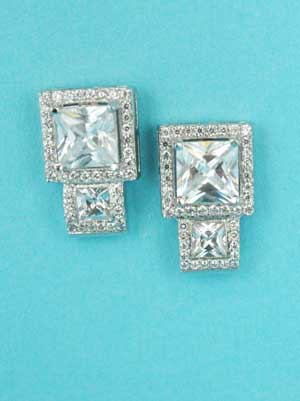 """Cubic Zirconia/Silver Two Square Shape 1"""" Post Earring"""