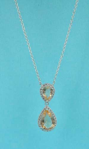 Light Colorado/Clear Silver Two Pear Stone Dangling Necklace