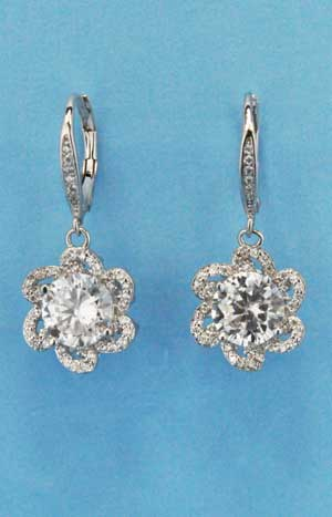 "Cubic Zirconia/Silver Bottom Flower Fish Earring 1.5"" Post Earring"