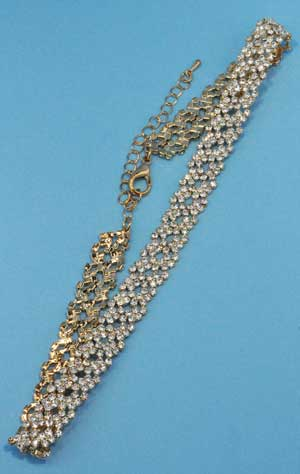 Clear/Gold Two Rows Linked Small Round Stone Necklace