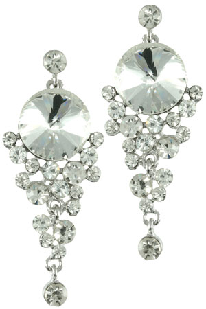 Clear Silver Rivoli with Cascading Stones Earring