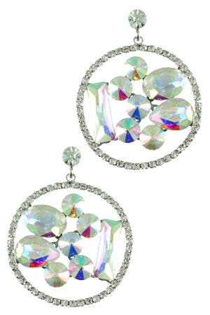 AB Clear Silver with Floating Stones Earring