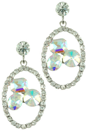 AB/Clear/Silver Dainty Oval with Floating Stones Earring