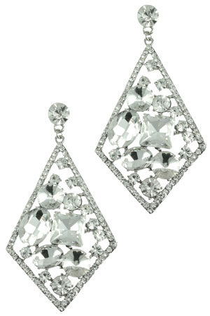 Clear Silver Diamond with Floating Stones Earring