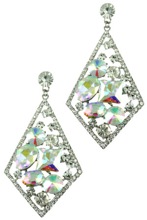 AB Clear Silver Diamond with Floating Stones Earring