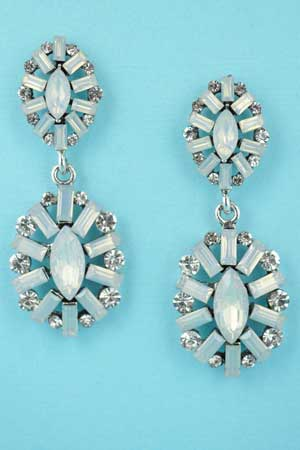 """Opal/Clear Silver Two Framed Pieces 2.2"""" Post Earring"""