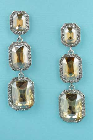 """Light Colorado/Clear Silver 3 Row Emerald Stone 2"""" Post Earring"""