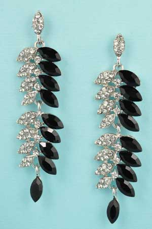 """Jet/Clear Silver 2 Row Marquise Stone 2.2"""" Earring"""