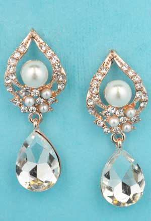 "Pearl/Clear Rose Gold Top Triangle Pear Stone Bottom 1.2"" Post Earring"
