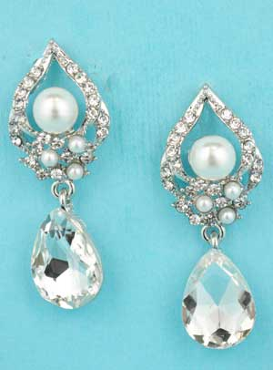 "Pearl/Clear Silver Top Triangle Pear Stone Bottom 1.2"" Post Earring"