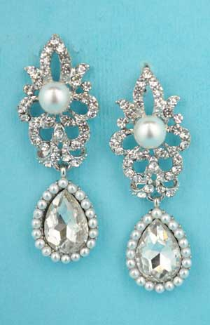 "Pearl/Clear Silver Top Framed/Pear Bottom 2"" Post Earring"