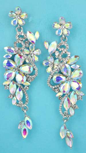 "Aurora Borealis/Clear Silver Multiple Flowers Shape 3"" Post Earring"