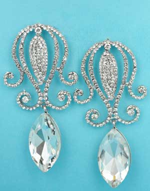 """Clear Silver Squid Shape Big Marquise Stone 3"""" Post Earring"""