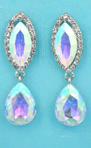 """Aurora Borealis/Clear Silver Top Marquise Bottom Pear Dangling 1.5"""" Post Earring"""