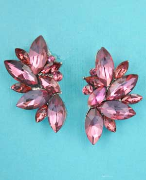 "Fuchsia/Silver Half Earring Leaves Shape 1.5"" Post"