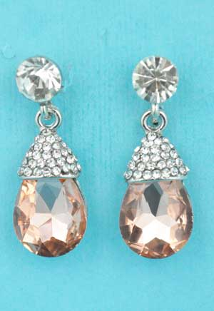 """Light Peach/Clear Top Dangling Round Stone 1.2"""" Post Earring"""