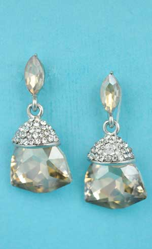 """Light Colorado/Clear Silver Marquise Linked Trillion Stone 1.5"""" Post Earring"""