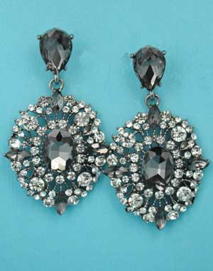 "Black Diamond/Clear Hematite Multiple Round Stone Framed 2"" Post Earring"