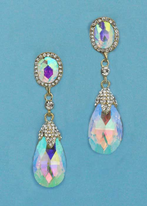 "Aurora Borealis/Clear Gold Top Oval Bottom Pearshape 2.5"" Post Earring"