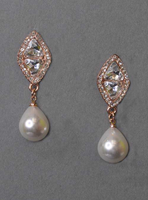 """Pearl/Clear Rose Gold Top Diamond Marquise Shape 1.5"""" Earring"""