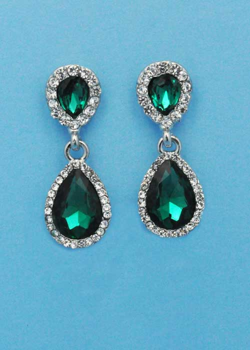 """Emerald/Clear Silver Two Linked Pearshape 1.5"""" Post Earring"""