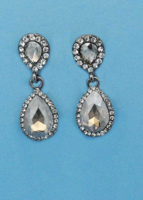 """Light Colorado/Clear Silver Two Linked Pearshape 1.5"""" Post Earring"""