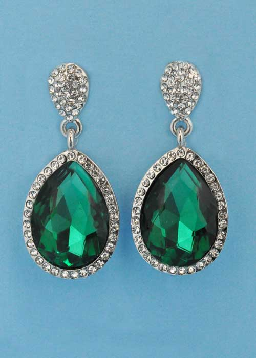 """Emerald/Clear Silver Linked Pear Stone 1.5"""" Post Earring"""
