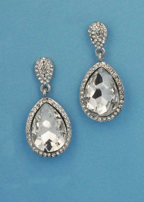 """Clear/Silver Two Linked Pear Stone 1.5"""" Post Earring"""