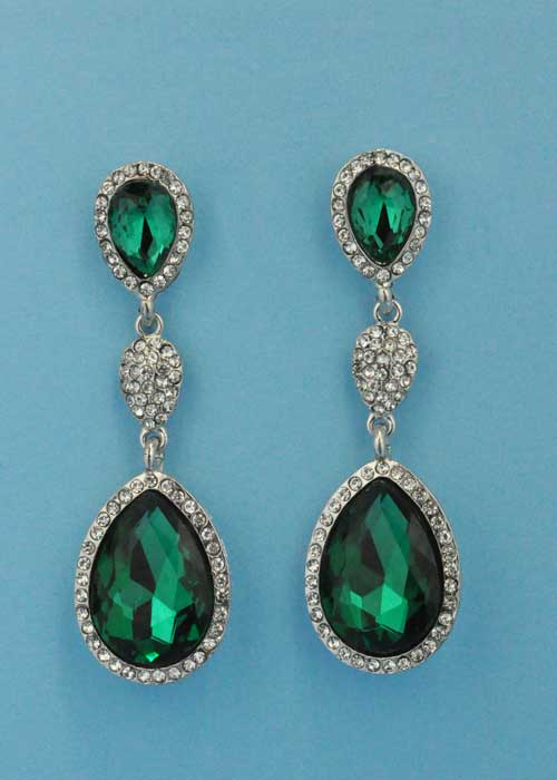 "Emerald/Clear Silver Three Linked Stone 3"" Post Earring"