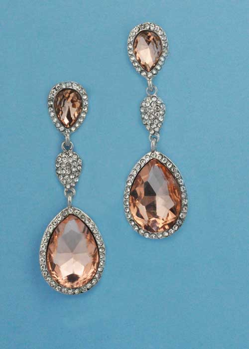 "Light Peach/Clear Silver Three Linked Stone 2.5"" Post Earring"
