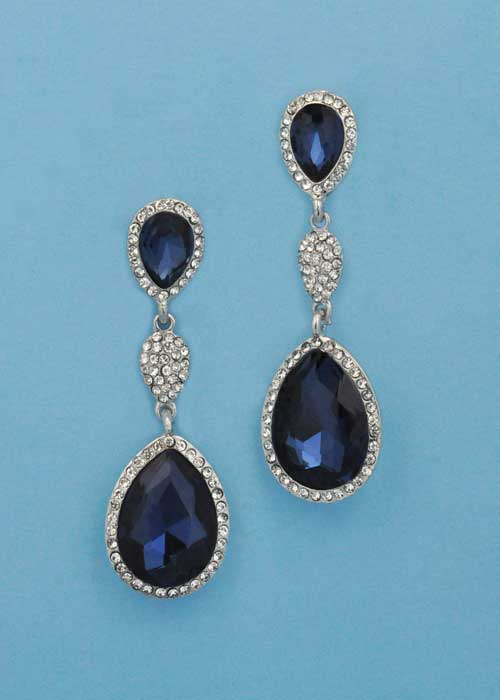 """Montana Navy/Clear Silver Three Linked Stone 2.5"""" Post Earring"""