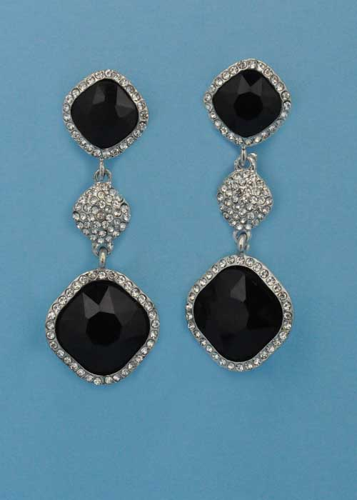 """Jet/Clear Silver Three Linked Stone Square Shape 2.5"""" Post Earring"""