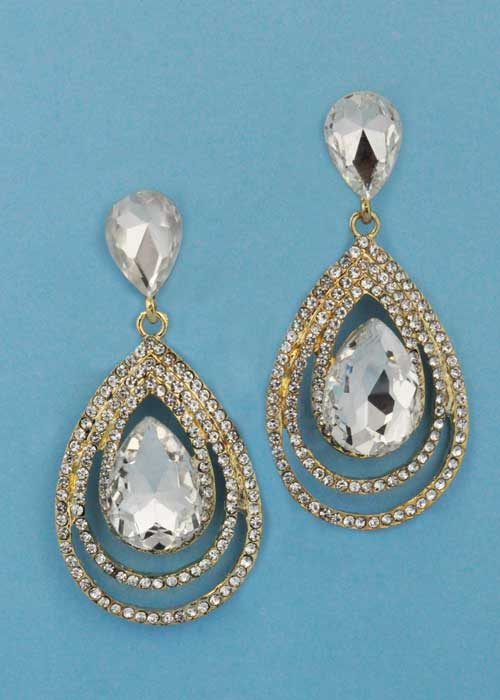 "Clear/Gold Multiple Pearshape Stone 1.5"" Post Earring"