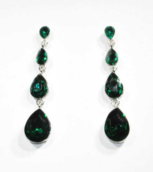 Emerald/Silver Four Linked Pearshape Post Earring