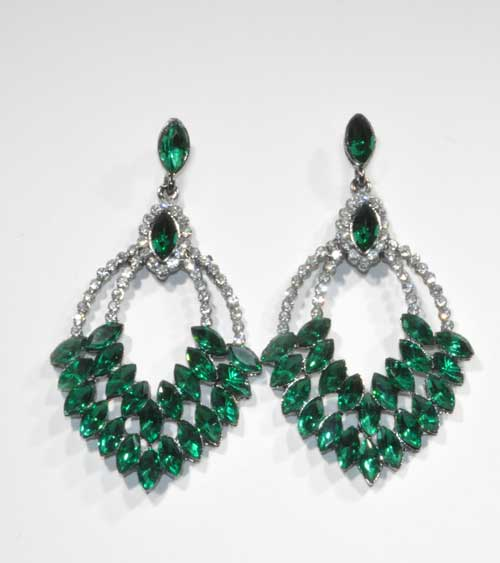 Emerald/Clear Silver Multiple Stone Post Earring
