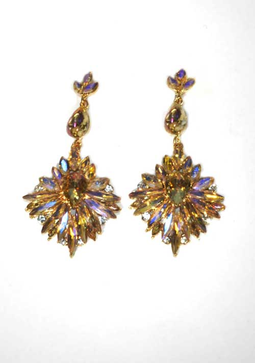 """Light Colorado/Clear Gold Marquise Shape Stone 3"""" Post Earring"""